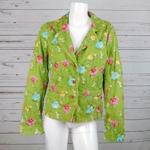 JOHNNY WAS GREEN FLORAL EMBROIDERED BLAZER JACKET